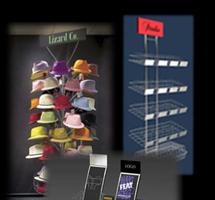 Газетные и торговые стойки, дисплеи и подставки подвесные, напольные, крючок торговый, навесные элементы, изделия из проволоки