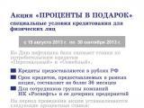 Концепция «Проценты в подарок» для ВБРР