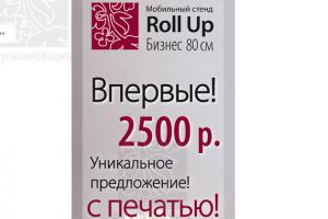Мобильный стенд Ролл ап Бизнес 80 см с печатью фотопанели за 2500 руб.