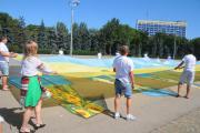 Сотрудники «Киевстар» в Одессе поздравили Украину с Днем Независимости открыткой площадью 300 кв.м.