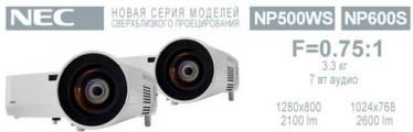 Новые проекторы NEC NP500WS и NEC NP600S для сверхблизкого проецирования