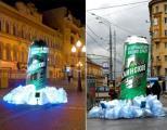 """""""Клинское Светлое"""" в банке с термознаком на улицах Москвы"""